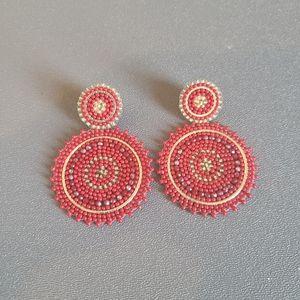 Express Red Beaded Earrings